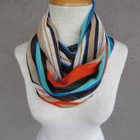 Striped Infinity Scarf - Multi Color Scarf - Colorful Circle Scarf - Green, Orange, Blue and Black Striped Scarf