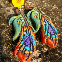 reserved Bohemian PEACOCK FEATHER EARRINGS Clay earrings long earrings Rainbow hippie jewelry Feather pendant