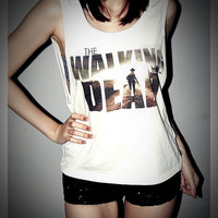 The Walking Dead Shirt Zombie Crop Top Tank Tops T-Shirt Women Sexy SideBoob Shirts Size S, M, L