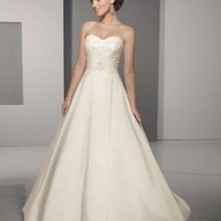 A-Line Princess Strapless Chapel Train Satin wedding dress for brides 2012 Style(WD0274) [WD0274] - &amp;#36;171.95 :