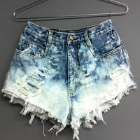 High Waisted Denim shorts Bleached cut