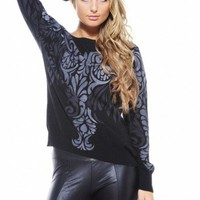 Grey Paisley Knit Jumper