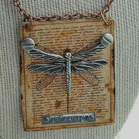 Dragonfly charm necklace pendant specimen Steampunk by peacemama73