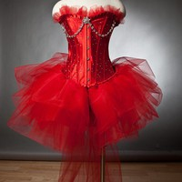 Custom Size red burlesque tutu corset prom dress with rhinestones