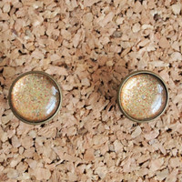 Glitter Polish Studs - handmade nail lacquer glitz 16mm studs cool jewelry earrings beige resin dome free shipping to USA