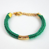 Emerald green bracelet, knit bracelet with gold tube, cotton
