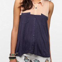 Urban Outfitters - Silence & Noise Split Panel Button-Down Top