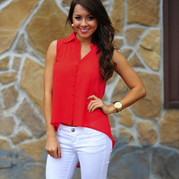 Fierce and Flirty Top: Deep Coral | Hope's