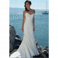 Beach Sweetheart Corset Closure Chiffon Ivory Wedding Dress Style RD1069