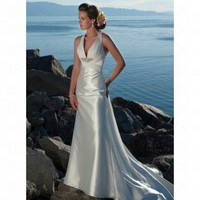 Beach Halter Floor-length White Chiffon&Satin Wedding Dress Style AD3397