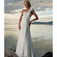 Beach One-Shoulder Ivory Chiffon Wedding Dress Style JD1425