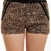 NWTs VINTAGE INSPIRED GLAM GOING OUT BLACK GOLD SEQUIN SOFT SHORTS PULL ON FALL