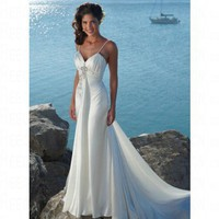 Beach Braided Shoulder Straps Floor-length Ivory Satin Wedding Dress Style AD3394