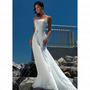 Beach One Shoulder Beaded Motif Ivory Chiffon Wedding Dress Style AD3371