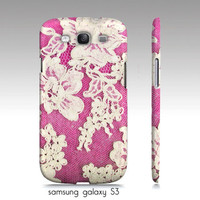 samsung galaxy, iphone4,4s, iphone5 phone case, white lace photograph, pink, girly