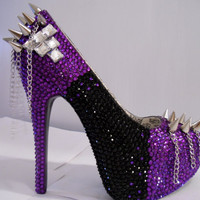 Black/Purple Rhinestone Pumps W/ Spikes and by uniquezaccess