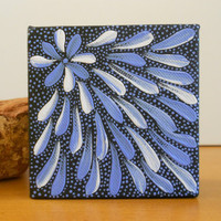 Painting Blue Flower Dot Aboriginal Inspired by Acires on Etsy