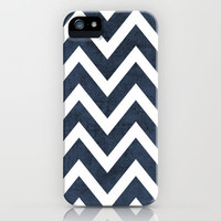 navy chevron iPhone Case by her art