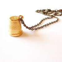 Wendy&#x27;s Kiss - Gold Thimble Necklace Thimble Necklace Thimble Charm Necklace Thimble Charm Jewelry Cute Adorable Whimsical Dreamy Neverland