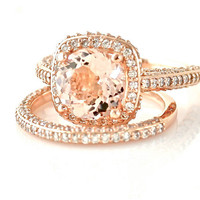 18K Rose Gold Morganite Wedding Set Diamond Halo Morganite Engagement Ring Custom Bridal Set
