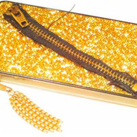 iPhone 4 Case Cover Hard Gold Glitter Mesh Fabric Zipper Chain Tassle One of a Kind Clear Sides
