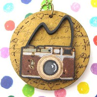 SALE - Camera Photographer Lens Wood Pendant Necklace with Mirror