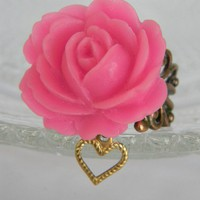 Pink Sherbert Rose Ring  Free Shipping by CreativeKates on Etsy