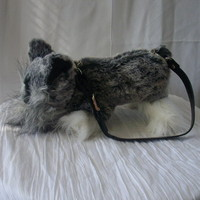 Miniature Schnauzer purse handbag with zip pocket and adjustable clip-on strap