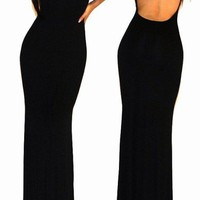 Sexy Black Minimal Backless Open Cutout Back Jersey Rayon Long Maxi Dress SML
