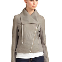Elie Tahari - Perforated Leather Asymmetrical Zip Jacket