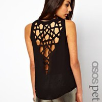 ASOS PETITE Exclusive Vest With Lasercut Dipped Back at asos.com