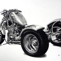 Trike motorcycle original charcoal drawing by ggsarts on Etsy