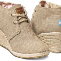 Natural Burlap Women's Desert Wedges | TOMS.com