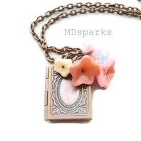 Copper Book Locket with Pink Flowers by MDsparks on Etsy