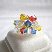 Handcrafted Swarovski Crystal Multi Color Cha Cha Ring by ccsJems