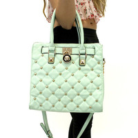 Mint Quilted Studded Purse | VidaKush