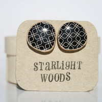 Stud wood Earrings black geometric pattern by starlightwoods
