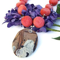 Paintbrush Jasper Handmade Necklace Sponge Coral Unique OOAK Jewelry