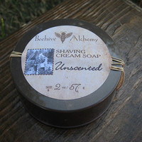 UNSCENTED Semi solid shaving soap 2 oz in by BeehiveAlchemy