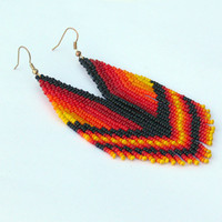Native American Earrings Inspired. Dangle Long Earrings. Yellow, Black, Red, Orange Earrings. Beadwork.