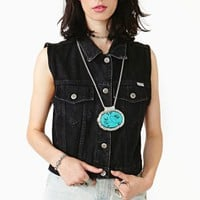 Bill Blass Black Denim Vest