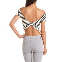 Striped Bow-Back Crop Top: Charlotte Russe