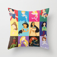 Disney Princesses Throw Pillow by Adrian Mentus | Society6