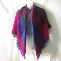 Acrylic wrap shawl in deep pink, purple, green and black