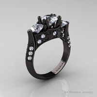 Nature Inspired 14K Black Gold Three Stone White Topaz Diamond Solitaire Wedding Ring Y230-14KBGDWT