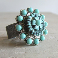 Vintage Turquoise Ring  Recycled Antique Flower by contempojewels