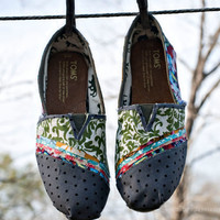 Toms Shoes Fabric Covered STYLE 3 by JageInACage on Etsy