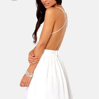 LULUS Exlcusive Seeing Starlets Backless Ivory Dress