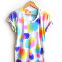 Ditsy Dots Hand Dyed Painted Polka Dots Scoop Neck Rolled Cuffs Tee in Spectrum Rainbow - S M L XL 2XL 3XL