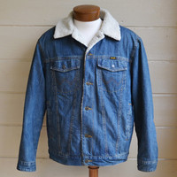 Vintage Wrangler Denim Jacket with Sherpa Lining Wrangler Denim Coat Men's Jean Jacket